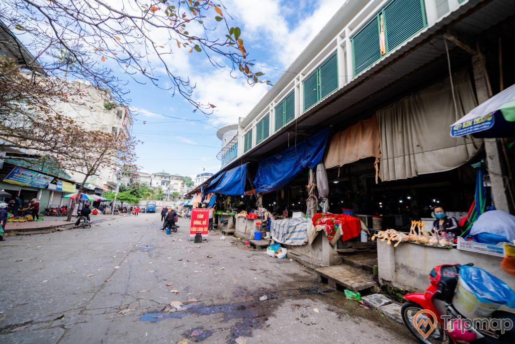 Chợ Hạ Long 2 , Chợ Loong Toòng, nền đường màu xám, nhiều quầy bán thịt gà, ảnh chụp ban ngày