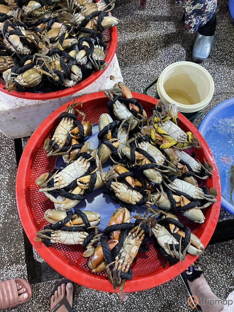 Hàng bàn cua bể tại chợ Hạ Long 2 - Chợ Loong Tòong