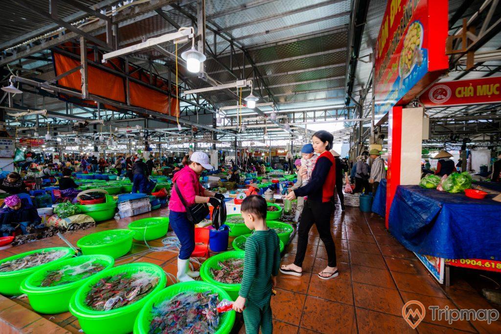 Chợ Hạ Long, Chợ Hòn Gai, nền đường màu đỏ, nhiều chậu đựng hải sản màu xanh, nhiều người đang đi trên nền gạch màu đỏ, tấm bạt màu xanh, ảnh chụp ban ngày