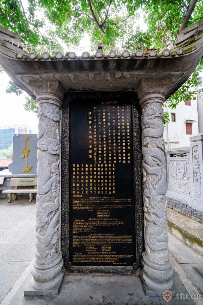 Đền thờ Đức Ông Trần Quốc Nghiễn, bia đá, ảnh chụp ban ngày