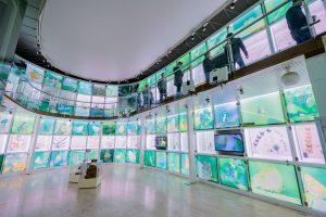 Bảo tàng Quảng Ninh, biển cả và tự nhiên, nhiều tủ kính, nhiều loại bướm, nền nhà màu nâu nhạt, nhiều người đang đứng trên hành lang