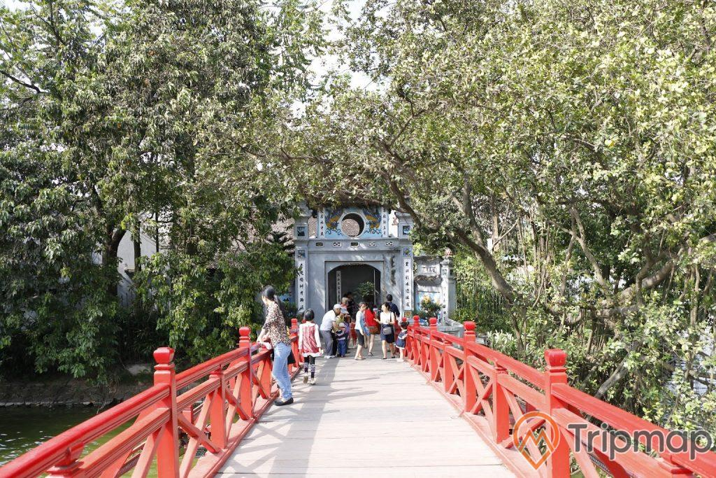 người đang đứng trên cây cầu màu đỏ cây cối mọc um tùm