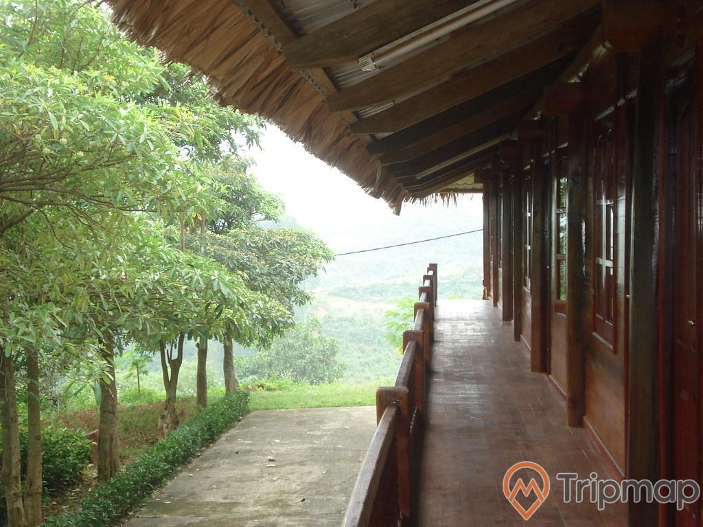 nhà sàn khu du lịch Thác Đa, hành lang trước phía nhà sàn, hàng cây vú sữa gần ngôi nhà sàn