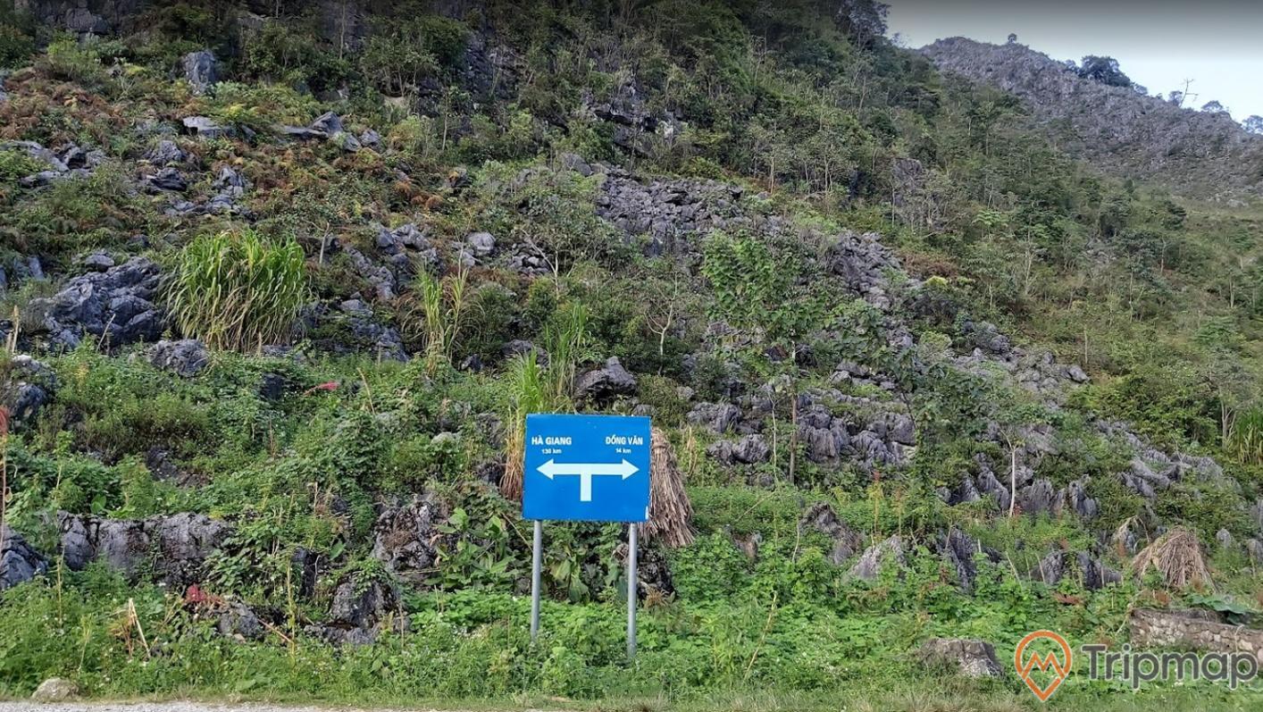 sườn núi đá tại cao nguyên Đồng Văn, tấm biển chỉ dẫn địa điểm màu xanh, cây cối xanh tươi, ảnh chụp ngoài trời