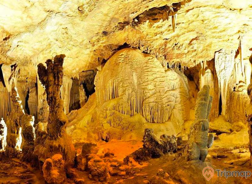 Cảnh quan nhũ đá trong hang Phương Thiện, vách nhũ đá, ảnh chụp trong hang động