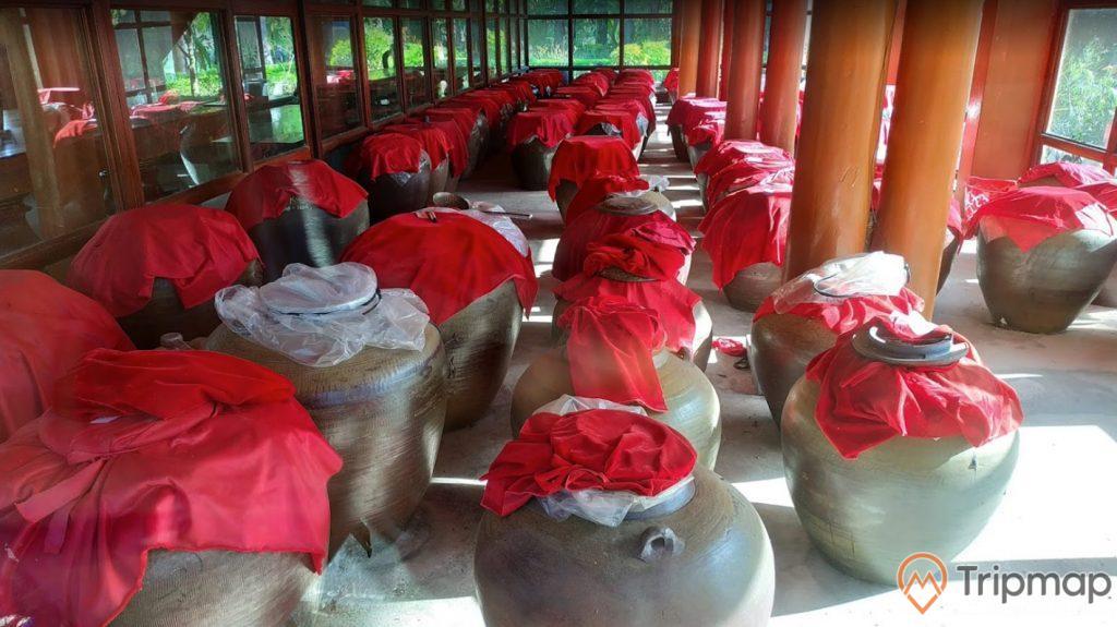 Khu trưng bày chum rượu tại khu du lịch sinh thái Him Lam, ảnh chụp trong nhà