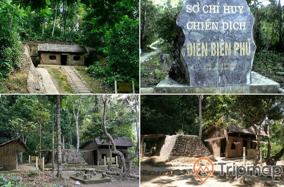 Bức ảnh địa điểm sở chỉ huy chiến dịch Điện Biên Phủ, bức ảnh ghép từ 4 bức hình, cây cối và ngôi nhà lán cọ, phiến đá khác chữ sở chỉ huy chiến dịch Điện Biên Phủ,