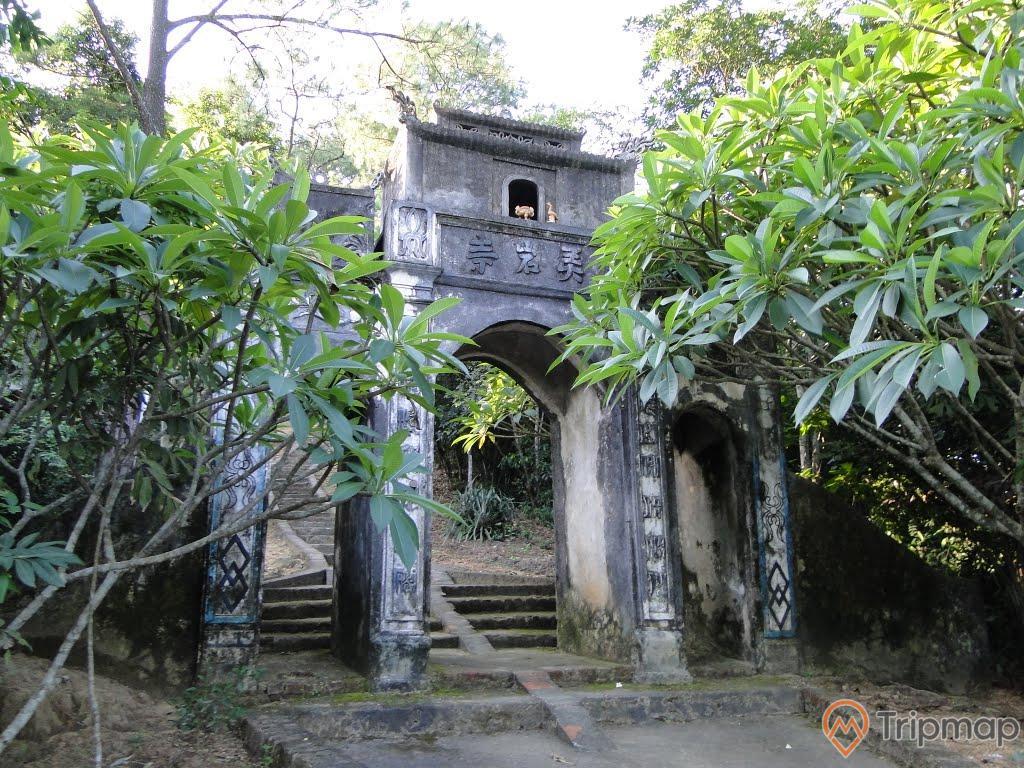 Chùa Cầm Thực, mặt tiền chùa sơn màu xám, nhiều chữ hán, nhiều cây xanh, bậc thang màu xám, ảnh chụp ban ngày, ảnh chụp trời nắng