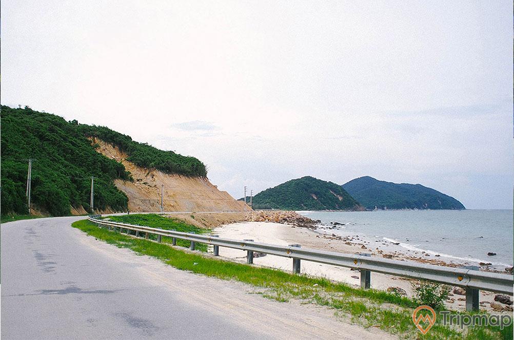 Bãi Rùa, con đường màu xám, bãi biển, ngọn núi có cây xanh, ảnh chụp ban ngày