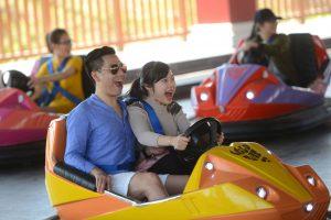 Bò sát đụng độ, nhiều người đang lái xe điện, chàng trai mặc áo xanh và cô gái mặc áo xám đang lái xe màu vàng