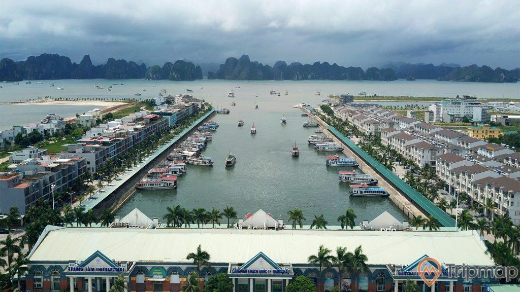 Cảng tàu khách Quốc tế Tuần Châu, nhiều thuyền đang đỗ trên mặt nước biển, nhiều tòa nhà bên cạnh cảng, mặt nước biển màu xanh, nhiều cây xanh, nhiều ngọn núi đá phía xa, trời nhiều mây, ảnh chụp từ trên cao, ảnh chụp ban ngày