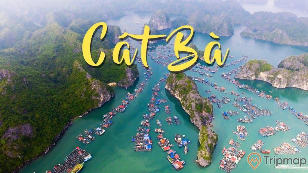 Đảo Cát Bà, nhiều nhà dân và thuyền trên biển, nhiều ngọn núi đá to có cây xanh, mặt nước biển màu xanh, ảnh chụp ban ngày, ảnh chụp từ trên cao