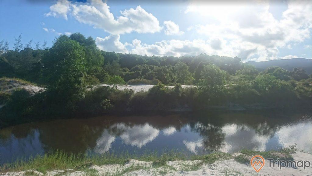 Đồi cát pha lê. bờ sông, nhiều cây xanh, trời xanh nhiều mây, trời nắng, ảnh chụp ban ngày