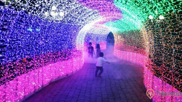 Du khách nhí thỏa thích vui đùa trên đường hoa - ánh sáng