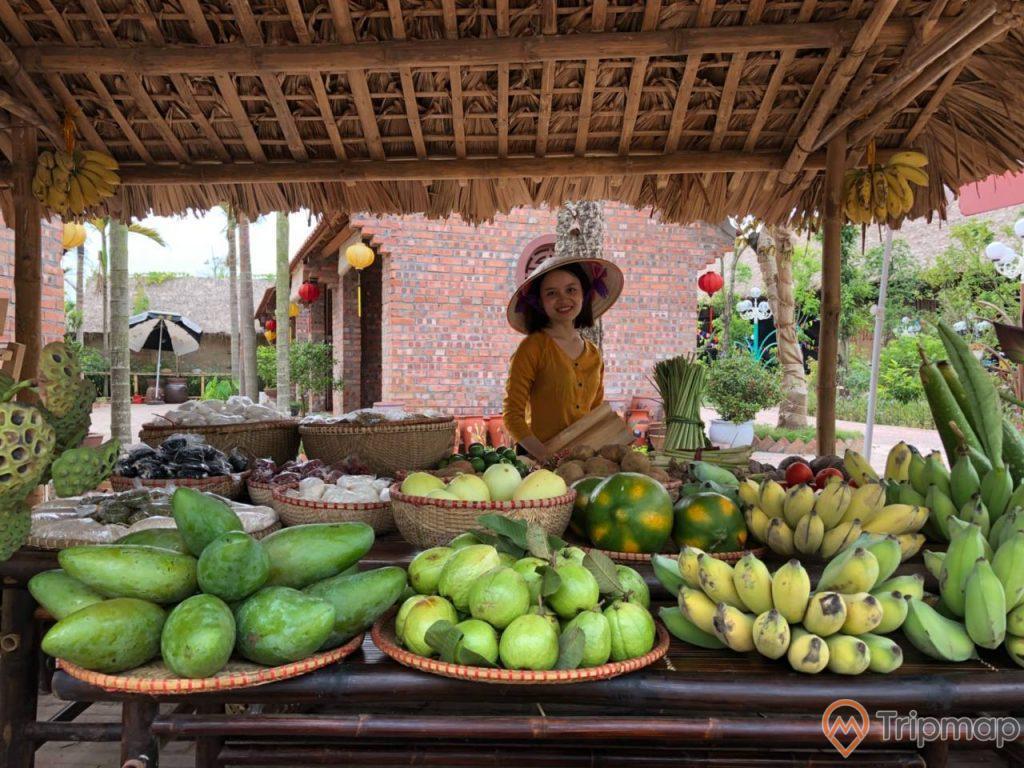 Quảng Ninh Gate, khu chợ quê, nhiều loại hoa quả, người phụ nữ mặc áo vàng đang cười, ngôi nhà bằng gạch màu đỏ phía sau, ảnh chụp ban ngày
