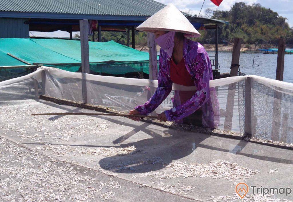 Người dân làng chài Ba Hang sơ chế hải sản khô