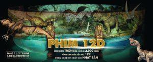 Rạp chiếu phim 12D, hình khủng long, vé quảng cáo rạp phim