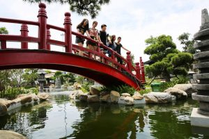 Vườn Nhật Bản Zen Garden, nhiều người đang đứng trên cây cầu màu đỏ, hồ nước bên dưới, nhiều cây xanh, ảnh chụp ban ngày