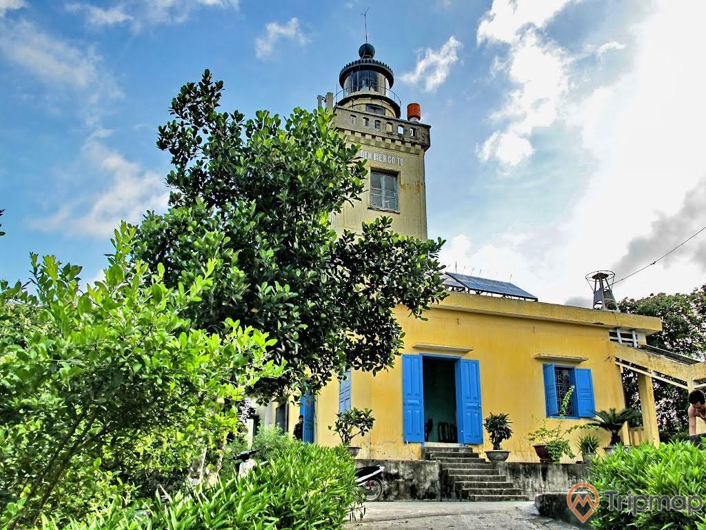 chậu cây trên bậc thềm ngôi nhà đèn biển Cô Tô, ngôi nhà đèn biển Cô Tô màu vàng có cửa màu xanh và có bậc thang đi vào nhà, bầu trời trong xanh nhiều mây trắng, cây cối xanh tươi, ảnh chụp ngoài trời