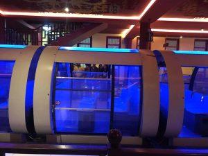 Tàu Monorail, tàu có màu trắng, ánh sáng xanh trong tàu